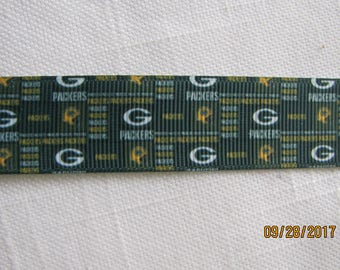 """Green Bay Packers 7/8"""" Grosgrain Ribbon by the Yard"""