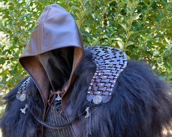 Jarl's Hooded Leather Battle Mantle with Studded Weave