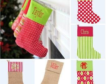 Christmas Stockings - Personalized Stocking - Monogrammed Stocking- Name or Initials