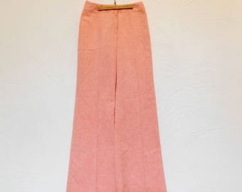 High Waist Trousers Vintage 1980s Peach High Rise Wide Leg Pants - 27W x 31L