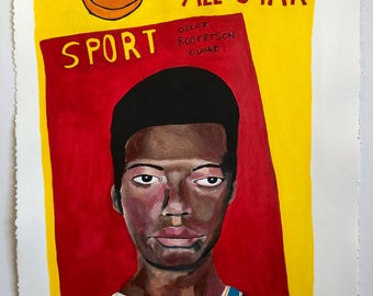 Portrait painting // Oscar Robertson 1970-71 All STAR NBA East // original painting // sports art // basketball painting on paper