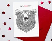 Sarcastic Valentine Card   'You're Bearable' Funny Valentine Card   Cynical Valentine Card   Card for him   Anti Valentine