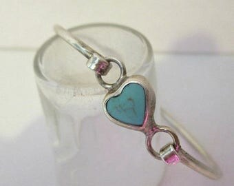 ON SALE Sterling Silver Turquoise Heart Hook Bangle Bracelet Mexico