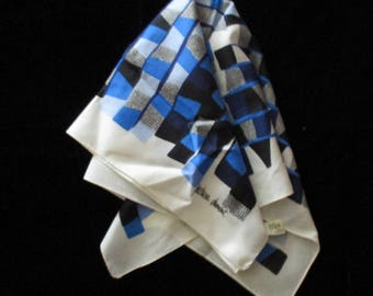 Vintage Scarf - Patricia Dumont, Made in Italy, Square Scarf, Blue, Black and White, Polyester, Head Scarf