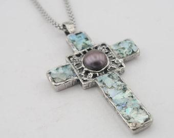 Hadar jewelry  Israel S Silver Genuine Antique Roman Glass Cross Pendant (as rg2)