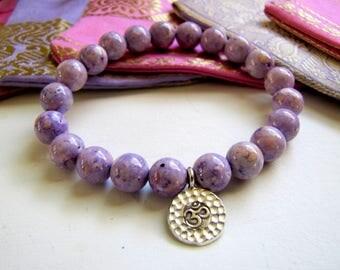 Purple Bracelet Hill Tribe Silver Ohm Bracelet Yoga Bracelet Mala Bracelet Om Bracelet Buddhist Bracelet OHM Charm Bracelet Boho Jewelry