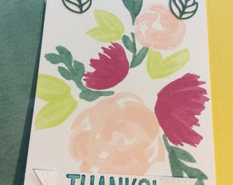 Thank you  handmade greeting card with flowers and leaves Thanks handmade