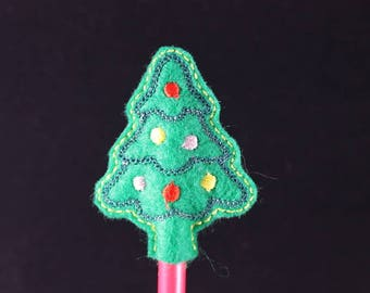 Pencil with embroidered felt Christmas tree topper