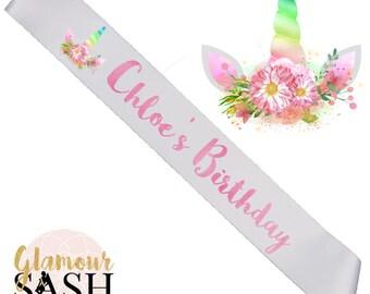 Birthday Sash - Unicorn Sash - Unicorn Party - Birthday Party - Watercolor - Custom Sash - Personalized Sash - Child Sash - Birthday Gift D2