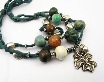 Chunky Teal Fall Leaf Jewelry - Acorn, Oak Leaf, Aqua Blue, Autumn Colors