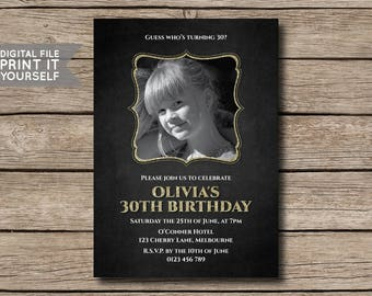 DIGITAL FILE - Glitter & Chalkboard Photo Birthday Party Invitation, Invite, 21st, 30th, 40th, 50th, 60th, Milestone - Print it Yourself