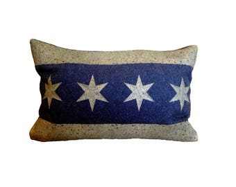 READY TO SHIP: Chicago Flag Pillow Cover from Military Blanket - Navy Blue