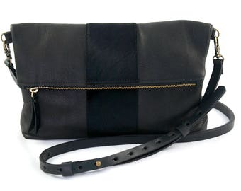 """READY TO SHIP: Medium Leather Crossbody Purse – """"The Betty"""" with calf hair stripe (multiple colors)"""