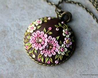 Gorgeous Polymer Clay Applique Statement Pendant Necklace in Chocolate and Pink