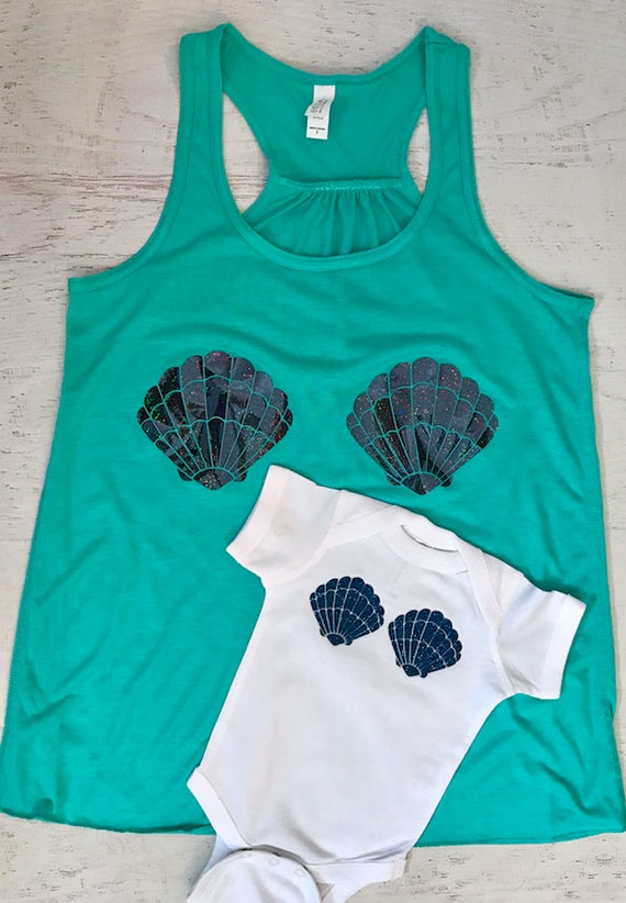 Mermaid Mommy and Me Shells Tank Top Holographic Shiny Sparkle  baby bodysuit with glitter Women's Racerback Flowy Tank Top Pictured in Teal