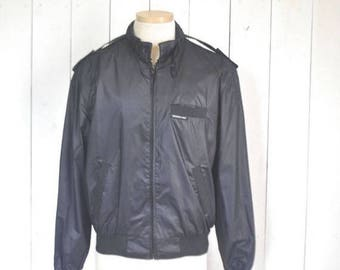 34% Off Sale - Vintage Members Only Jacket Black 1980s Windbreaker Bomber Jacket Size 42 Large