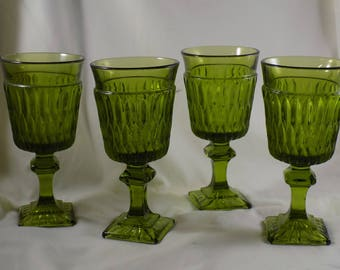 Four 1970's Wine/Juice Goblets Indiana Glass Footed Ribbed Mount Vernon Green