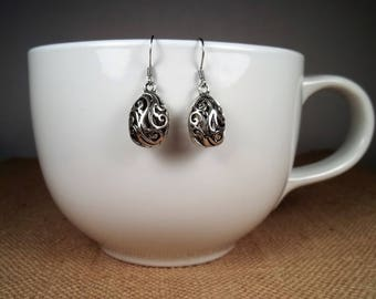 Silver Filigree Statement Dangle Charm Earrings