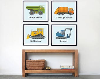 Children's prints, TRUCK prints for boys, room decor, Construction prints, Colorful wall art, Garbage truck, bulldozer, digger prints