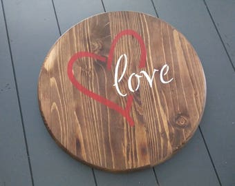 Turntable/ Lazy Susan/ Love/ Rustic Heart Lazy Susan