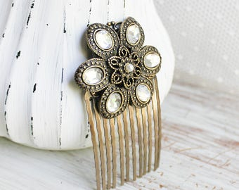 Rhinestone Hair Comb - Wedding Hair Comb - Gold Bridal Hair Comb - Bronze Wedding Hair Accessories - Flower Hair Comb - Floral Hair Comb