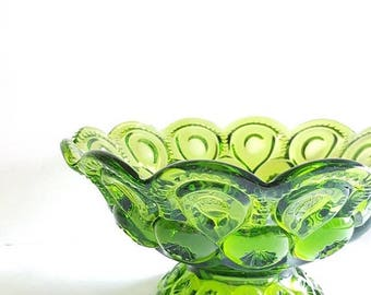 ON-SALE Green Glass Footed Bowl- Starry Night, Gorgeous Collectible