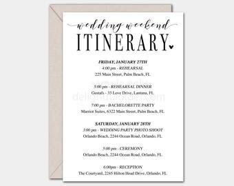 Editable Wedding Weekend Itinerary, Printable Template, DIY Wedding Itinerary, PDF, Instant Download - Editable Printable File