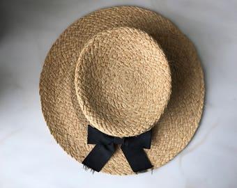 WIDE BRIM BOATER straw hat vintage antique flexible well made small medium 6 7 flat top ribbon panama beach summer antique fair black tan