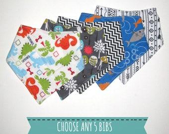 Drool Bib Set- Choose any 5 Baby Drool Bibs- Baby Shower Gift Set- New Baby Gift Idea- Baby Bandana Bib Set- Drool Bandana Bib- Pick 5 Bibs