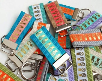 Pineapple Key Chain- Mini KEY FOB- Gold Keychain Holder- Womens Key Ring- Gold Wristlet Key Fob- Womens Gift for Her Under 10-Pineapple Gift