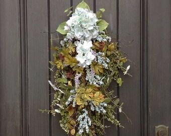 Spring Wreath-Summer Wreath-Teardrop Twig Door Swag Vertical Decor-Teal/Blue Berries-Hydrangeas-Indoor/Outdoor Decoration-Artificial Floral
