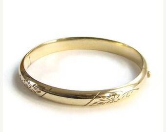 ON SALE Vintage 12K Yellow Gf Gold Filled Hinged Bangle Bracelet Etched Design Signed Marathon