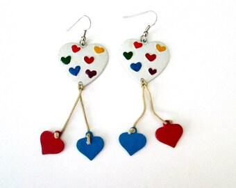 Enamel Rainbow Hearts Earrings // Vintage Heart on a String