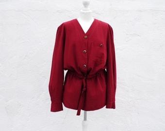 Burgundy blouse bordeaux blouse beetroot blouse loose blouse oversized blouse high waist blouse deep red blouse burgundy top burgundy jacket