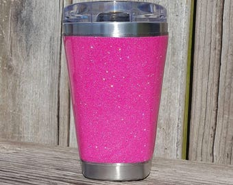Glitter Sovaro Coffee Cup Tumbler Stainless Steel 14 oz SOVARO Solid Neon Hot Barbie Like Pink DISCOUNTED Read Discription