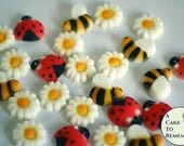 Edible cupcake topper ladybug and bees set, enough for 12 cupcakes. First birthday or baby shower mini cupcake decorations.