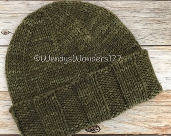 Hand Knitted Hat, Merino/Cashmere, Knit Hat, Handmade Hat, Gift Ideas, Olive Green Knit Hat