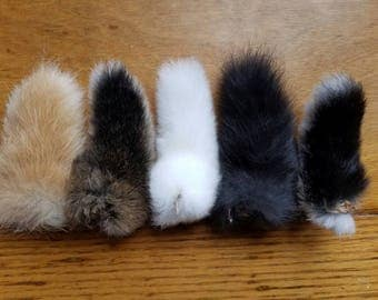 Naturally Dried Real Rabbit Tails - Lot of 5