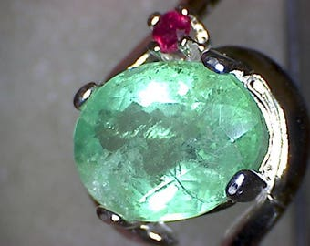 Beautiful Zambian Emerald and Ruby Ring