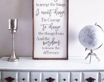 God grant me the serenity, Serenity Prayer, 18x36, Framed Wood Sign