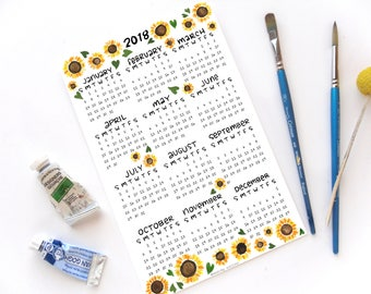 2018 Half Page Full Year Sunflower Desk Calendar | Hand Illustrated Sunflower Girasole Watercolor Calligraphy Handmade Desk Calendar