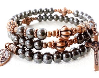 Men's Rosary Bracelet•Hematite-Copper Wrap Rosary Bracelet•Catholic Jewelry•Confirmation•Communion•Miraculous Medal•St. Benedict Cross•#119
