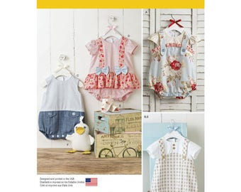 NEW Infant Toddler Romper Pattern Simplicity 1121