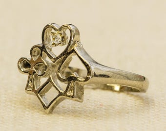 Heart Spade Diamond Club Vintage Ring Silver Playing Cards Suits US Womens Size 5 7RI