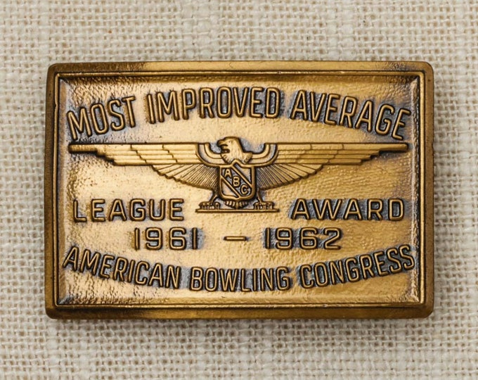 American Bowling Congress Belt Buckle Small Rectangle Brass Most Improved Average 1961 1962 Vintage Belt Buckle 7Q