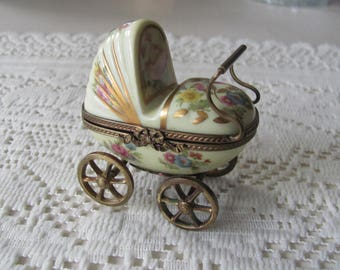Vintage Rochard Limoges Box Baby Carriage Stroller Brass Moving Parts