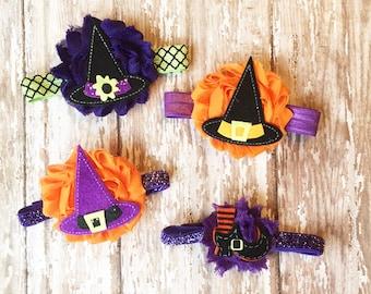 Witch Hat Headband | Orange, Black, Purple Halloween Headband | Newborn-Adult
