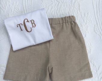 Boys Cotton Linen Shorts Set, Free Monogram,diaper cover set, boys, toddlers, classic, cotton linen, shorts and tee shirt