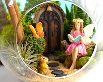 "Fairy Garden Terrarium Kit ~ 7"" Terrarium ~ Miniature Fairy Garden ~ Fairy Door choice at checkout ~ Reading Fairy ~ Gift"