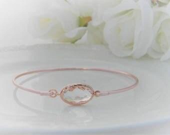 Rose Gold Bangle Bracelet / Clear Crystal Bracelet / Bridesmaid Gift / Bridesmaid Jewelry / Rose Gold Bridesmaid Bracelet / Gift  For Her